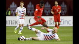 U.S. midfielder Michael Bradley (4) tackles Canada midfielder Alphonso Davies (12) during the first half of a CONCACAF Nations League soccer match Tuesday, Oct. 15, 2019, in Toronto. (Cole Burston/The Canadian Press via AP)