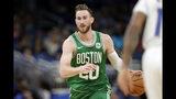 Boston Celtics' Gordon Hayward (20) moves the ball against the Orlando Magic during the second half of an NBA preseason basketball game, Friday, Oct. 11, 2019, in Orlando, Fla. (AP Photo/John Raoux)