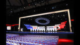 The stage is prepared where the CNN/New York Times will host the Democratic presidential primary debate at Otterbein University, Tuesday, Oct. 15, 2019, in Westerville, Ohio. (AP Photo/John Minchillo)