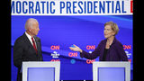 Democratic presidential candidate former Vice President Joe Biden and Sen. Elizabeth Warren, D-Mass., participate in a Democratic presidential primary debate hosted by CNN/New York Times at Otterbein University, Tuesday, Oct. 15, 2019, in Westerville, Ohio. (AP Photo/John Minchillo)