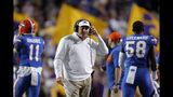 Florida head coach Dan Mullen walks on the sideline in the first half of an NCAA college football game against LSU in Baton Rouge, La., Saturday, Oct. 12, 2019. LSU won 42-28. (AP Photo/Gerald Herbert)