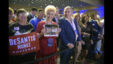 FILE- In this Nov. 6, 2018 file photo, supporters of Florida gubernatorial candidate Ron DeSantis wait for results at his election party in Orlando, Fla. Standing in the middle of the front row is Lev Parnas. Parnas and his associate Igor Furman are facing federal charges in connection to efforts by President Donald Trump's lawyer, Rudy Giuliani, to launch a Ukrainian corruption investigation agains Joe Biden and his son, Hunter. (AP Photo/Phelan M. Ebenhack, File)