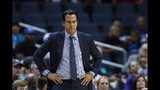 Miami Heat coach Erik Spoelstra watches his team play the Charlotte Hornets during the first half of an NBA preseason basketball game in Charlotte, N.C., Wednesday, Oct. 9, 2019. (AP Photo/Nell Redmond)
