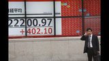 A man stands in front of an electronic stock board of a securities firm in Tokyo, Tuesday, Oct. 15, 2019. Shares are mixed in Asia after a wobbly day of trading on Wall Street. Japan's Nikkei 225 index jumped 1.8% as it reopened from a public holiday and investors caught up on the news of a preliminary trade deal between China and the U.S. (AP Photo/Koji Sasahara)