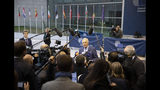European Union chief Brexit negotiator Michel Barnier speaks with the media as he arrives for a meeting of EU General Affairs ministers, Article 50, at the European Convention Center in Luxembourg, Tuesday, Oct. 15, 2019. European Union chief Brexit negotiator Michel Barnier is in Luxembourg on Tuesday to brief ministers on the state of play for Brexit. (AP Photo/Virginia Mayo)