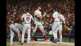 St. Louis Cardinals manager Mike Shildt takes starting pitcher Dakota Hudson out of the game during the first inning of Game 4 of the baseball National League Championship Series against the Washington Nationals Tuesday, Oct. 15, 2019, in Washington. (AP Photo/Patrick Semansky)