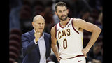 Cleveland Cavaliers head coach John Beilein, left, talks with Kevin Love in the first half of an NBA preseason basketball game against San Lorenzo, Monday, Oct. 7, 2019, in Cleveland. (AP Photo/Tony Dejak)