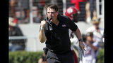 South Carolina head coach Will Muschamp reacts after his team returned an interception of a touchdown in the first half of an NCAA college football game against Georgia, Saturday, Oct. 12, 2019, in Athens, Ga. (AP Photo/John Bazemore)