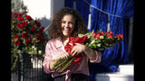 Olympic gymnast Laurie Hernandez appears at the tournament house in Pasadena, Calif., on Tuesday, Oct. 15, 2019, where it was announced that she will join actress Rita Moreno and actress Gina Torres as Grand Marshals for the 2020 Pasadena Tournament of Roses Parade. (David Crane/The Orange County Register via AP)