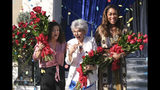 Olympic gymnast Laurie Hernandez, from left, actress Rita Moreno and actress Gina Torres appear at the tournament house in Pasadena, Calif., on Tuesday, Oct. 15, 2019. Hernandez, Moreno and Torres will serve as Grand Marshals for the 2020 Pasadena Tournament of Roses Parade. (David Crane/The Orange County Register via AP)