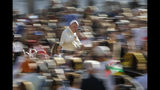 Pope Francis arrives for his weekly general audience, in St.Peter's Square, at the Vatican, Wednesday, Oct. 16, 2019. (AP Photo/Andrew Medichini)