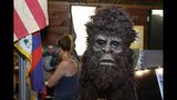 This Aug. 8, 2019, photo shows a Bigfoot mask on display at Expedition: Bigfoot! The Sasquatch Museum in Cherry Log, Ga. The owner of this intriguing piece of Americana at the southern edge of the Appalachians is David Bakara, a longtime member of the Bigfoot Field Researchers Organization who served in the Navy, drove long-haul trucks and tended bar before opening the museum in early 2016 with his wife, Malinda. (AP Photo/John Bazemore)