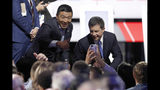 Democratic presidential candidate entrepreneur Andrew Yang and South Bend Mayor Pete Buttigieg, right, greet guests following the Democratic presidential primary debate hosted by CNN/New York Times at Otterbein University, Tuesday, Oct. 15, 2019, in Westerville, Ohio. (AP Photo/John Minchillo)