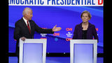 Democratic presidential candidate former Vice President Joe Biden, gestures toward Sen. Elizabeth Warren, D-Mass., during a Democratic presidential primary debate hosted by CNN/New York Times at Otterbein University, Tuesday, Oct. 15, 2019, in Westerville, Ohio. (AP Photo/John Minchillo)