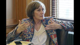 FILE - In this Feb. 13, 2019, file photo, state Sen. Barbara Bollier, D-Mission Hills, speaks during a meeting of Democratic senators at the Statehouse in Topeka, Kan. Bollier, a Kansas legislator who defected from the Republican Party last year, is running for the U.S. Senate next year as a Democrat. The Kansas City Star reports that Bollier promised an independent approach in kicking off her campaign, Wednesday Oct. 16, 2019. The retired anesthesiologist also condemned dysfunction in Washington as she seeks to replace retiring Republican Sen. Pat Roberts. (AP Photo/John Hanna File)
