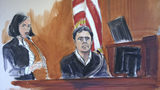 FILE - In this Dec. 15, 2017, file courtroom sketch, Mehmet Hakkan Atilla, right, testifies in his trial in New York. Atilla, a Halkbank official, was convicted in 2018 of conspiracies to violate U.S. sanctions law, defraud the U.S. and commit money laundering and bank fraud. Halkbank, a major Turkish bank, was criminally charged in an indictment Tuesday, Oct. 15, 2019, with participating in a multibillion-dollar scheme to evade U.S. sanctions against Iran. In a release, U.S. Attorney Geoffrey S. Berman said senior bank officials designed and carried out the scheme to move billions of dollars of Iranian oil revenue illegally. (Elizabeth Williams via AP, File )