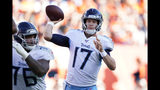 Tennessee Titans quarterback Ryan Tannehill throws a pass during the second half of an NFL football game against the Denver Broncos, Sunday, Oct. 13, 2019, in Denver. (AP Photo/Jack Dempsey)