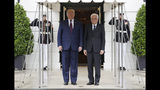 President Donald Trump welcomes Italian President Sergio Mattarella to the White House, Wednesday, Oct. 16, 2019, in Washington. (AP Photo/Evan Vucci)