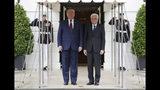 President Donald Trump welcomes Italian President Sergio Mattarella to the White House, Wednesday, Oct. 16, 2019, in Washington. (AP Photo/Evan Vucci)