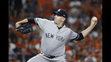 New York Yankees starting pitcher James Paxton throws against the Houston Astros during the first inning in Game 2 of baseball's American League Championship Series Sunday, Oct. 13, 2019, in Houston. (AP Photo/Matt Slocum)