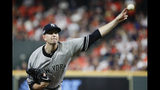 New York Yankees starting pitcher James Paxton throws against the Houston Astros during the first inning in Game 2 of baseball's American League Championship Series Sunday, Oct. 13, 2019, in Houston. (AP Photo/Eric Gay)