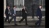 Members of the government pro-Brexit ERG group, with left to right, Mark Francois, Steve Baker, Iain Duncan Smith and Bill Cash, as they leave 10 Downing Street in London, Wednesday, Oct. 16, 2019. Lawmakers are meeting in London Wednesday as the European Union and Britain are still negotiating a tentative Brexit deal.(AP Photo/Alberto Pezzali)