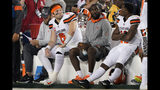 Cleveland Browns quarterback Baker Mayfield (6) sits on the bench with teammates during the second half of an NFL football game against the San Francisco 49ers in Santa Clara, Calif., Monday, Oct. 7, 2019. (AP Photo/Tony Avelar)