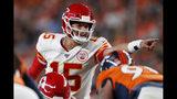 Kansas City Chiefs quarterback Patrick Mahomes (15) makes a call during the first half of an NFL football game against the Denver Broncos, Thursday, Oct. 17, 2019, in Denver. (AP Photo/David Zalubowski)