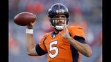 Denver Broncos quarterback Joe Flacco (5) warms up prior to an NFL football game against the Kansas City Chiefs, Thursday, Oct. 17, 2019, in Denver. (AP Photo/Jack Dempsey)