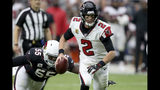 Atlanta Falcons quarterback Matt Ryan (2) runs as Arizona Cardinals linebacker Chandler Jones (55) pursues during the second half of an NFL football game, Sunday, Oct. 13, 2019, in Glendale, Ariz. (AP Photo/Ross D. Franklin)