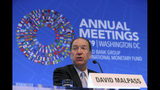World Bank President David Malpass speaks during a news conference at the World Bank/IMF Annual Meetings in Washington, Thursday, Oct. 17, 2019. (AP Photo/Jose Luis Magana)