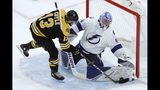 Tampa Bay Lightning goaltender Andrei Vasilevskiy (88) makes a pad save against Boston Bruins center Charlie Coyle (13) in the shootout of an NHL hockey game Thursday, Oct. 17, 2019, in Boston. The Lightning won 4-3. (AP Photo/Elise Amendola)