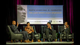 """FILE - In this Jan. 15, 2018, file photo, former NBA and WNBA players Anfernee """"Penny"""" Hardaway, left, Swin Cash and James Worthy, right, participate in the Earl Lloyd Sports Legacy Symposium in Memphis, Tenn. Cash believes the NBA is realizing having more women is important to growing the league's overall brand, business and bottom line. (AP Photo/Brandon Dill, File)"""