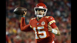 FILE - In this Oct. 6, 2019, file photo, Kansas City Chiefs quarterback Patrick Mahomes throws a pass during the first half of the team's NFL football game against the Indianapolis Colts in Kansas City, Mo. Mahomes has thrown 202 consecutive passes without an interception. (AP Photo/Ed Zurga, File)