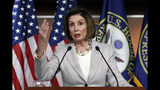 House Speaker Nancy Pelosi of Calif., gestures while speakings during a news conference on Capitol Hill in Washington, Thursday, Oct. 17, 2019. (AP Photo/Pablo Martinez Monsivais)