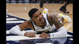 Denver Nuggets guard Monte Morris looks to an official during the first half of the team's NBA preseason basketball game against the Portland Trail Blazers in Denver, Thursday, Oct. 17, 2019. (AP Photo/Joe Mahoney)