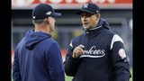 New York Yankees manager Aaron Boone, right, talks with Houston Astros manager AJ Hinch during batting practice before Game 5 of baseball's American League Championship Series Friday, Oct. 18, 2019, in New York. (AP Photo/Matt Slocum)