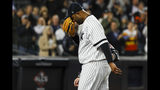 New York Yankees pitcher CC Sabathia is helped off the field during the eighth inning in Game 4 of baseball's American League Championship Series against the Houston Astros Thursday, Oct. 17, 2019, in New York. (AP Photo/Matt Slocum)