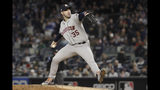 Houston Astros starting pitcher Justin Verlander (35) delivers against the New York Yankees during the first inning of Game 5 of baseball's American League Championship Series, Friday, Oct. 18, 2019, in New York. (AP Photo/Frank Franklin II)
