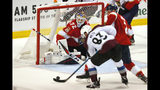 Colorado Avalanche left wing Matt Nieto (83) scores against Florida Panthers goaltender Sergei Bobrovsky (72) during the second period of an NHL hockey game Friday, Oct. 18, 2019, in Sunrise, Fla. (AP Photo/Wilfredo Lee)