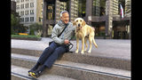"""Attorney Ernest Lew sits with his dog, Emma, in a Financial District plaza Friday, Oct. 18, 2019, in San Francisco. California's jobless rate has fallen to a record low 4% and in San Francisco it's dropped under 2%, a level economists once thought impossible to reach. """"Why are there so many homeless people if this economy is booming? That's crazy!"""" said Lew, an estate planning attorney, when told about the report. Lew has practiced law for 30 years and said he is doing very well because a lot of his clients work at Google, Facebook and other tech companies. (AP Photo/Olga Rodriguez)"""
