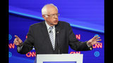 IN this Oct. 15, 2019, photo, Democratic presidential candidate Sen. Bernie Sanders, I-Vt., speaks during a Democratic presidential primary debate hosted by CNN and The New York Times at Otterbein University in Westerville, Ohio. (AP Photo/John Minchillo)