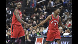 Toronto Raptors guard Kyle Lowry (7) and forward Serge Ibaka (9) react during the fourth quarter of a preseason NBA basketball game against the Brooklyn Nets Friday, Oct. 18, 2019, in New York. (AP Photo/Sarah Stier)