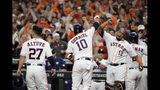 Houston Astros' Yuli Gurriel (10) celebrates after his three-run home run against the New York Yankees during the first inning in Game 6 of baseball's American League Championship Series Saturday, Oct. 19, 2019, in Houston. (AP Photo/Eric Gay)