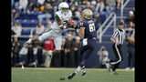 South Florida defensive back Nick Roberts (2) intercepts a pass intended for Navy wide receiver Ryan Mitchell (87) during the first half of an NCAA college football game, Saturday, Oct. 19, 2019, in Annapolis. (AP Photo/Julio Cortez)