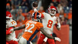 Kansas City Chiefs quarterback Matt Moore (8) throws as Denver Broncos defensive back Kareem Jackson (22) pursues during the second half of an NFL football game, Thursday, Oct. 17, 2019, in Denver. (AP Photo/Jack Dempsey)