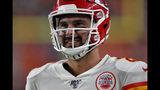 Kansas City Chiefs quarterback Matt Moore smiles during the second half of an NFL football game against the Denver Broncos, Thursday, Oct. 17, 2019, in Denver. (AP Photo/David Zalubowski)