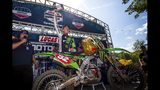 In this Aug. 24, 2019 photo, provided by Motocross Action Magazine. Adam Cianciarulo celebrates winning the Ironman National motocross race in Crawfordsville, Ind. Cianciarulo was one the next up-and-coming star in motocross. A series of injuries nearly chased him from the sport, but Cianciarulo has recovered is finally ready to ride toward the top. (Rich Shepherd/Motocross Action Magazine via AP)