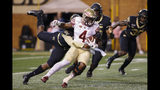 Florida State running back Khalan Laborn (4) fights for yards against Wake Forest in the first half of an NCAA college football game in Winston-Salem, N.C., Saturday, Oct. 19, 2019. (AP Photo/Nell Redmond)