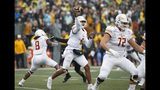 Louisiana Monroe quarterback Caleb Evans (6) throws to an open receiver during the first half of an NCAA college football game against Appalachian State Saturday, Oct. 19, 2019, in Boone, NC. (AP Photo/Brian Blanco)